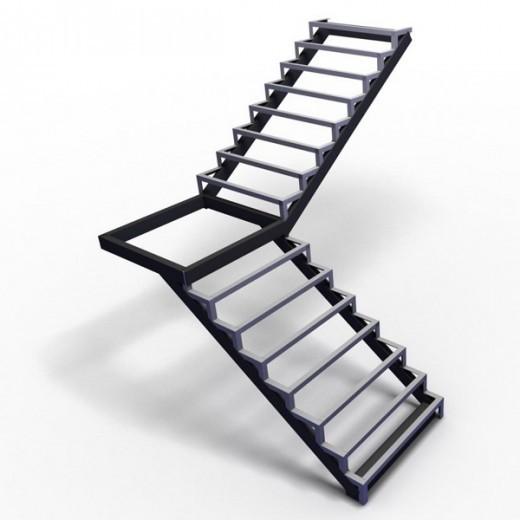 Лестница каркас с площадкой